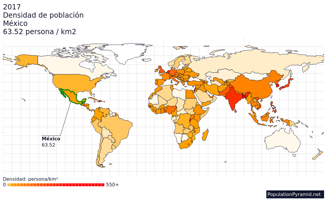 densidad de población méxico 2017