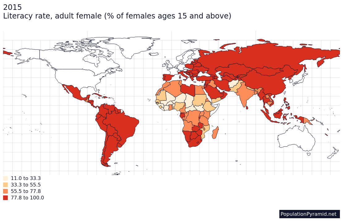 Literacy Rate Adult Female Of Females Ages 15 And Above 2015