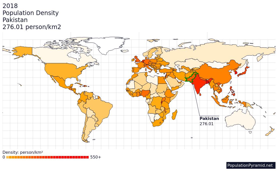 Population Density Pakistan 2018