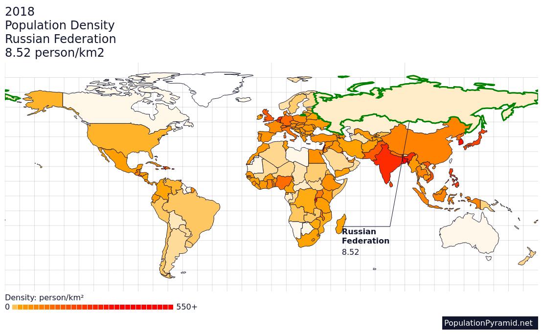 Population Density Russian Federation 2018