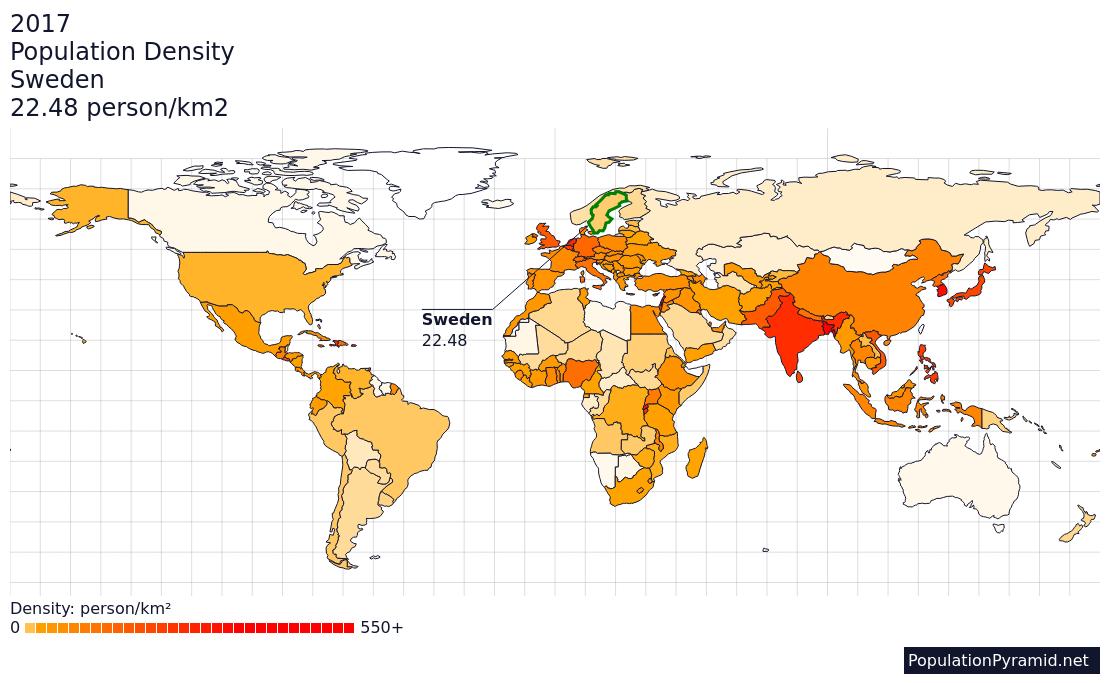 Population Density Sweden - Sweden map population density