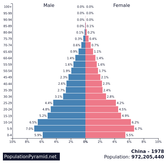 Image result for population pyramid china 1978