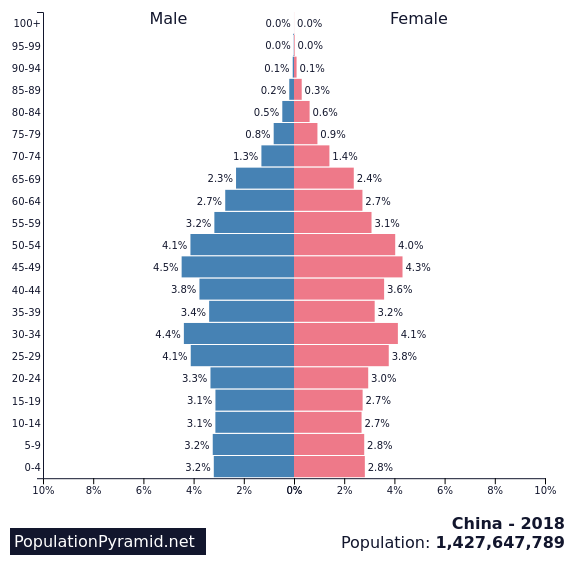 Image result for population pyramid china 2018