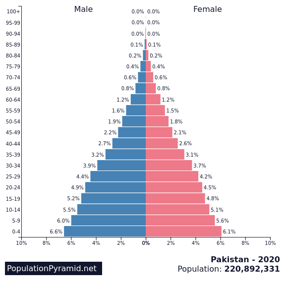 Population of Pakistan 2020 - PopulationPyramid net