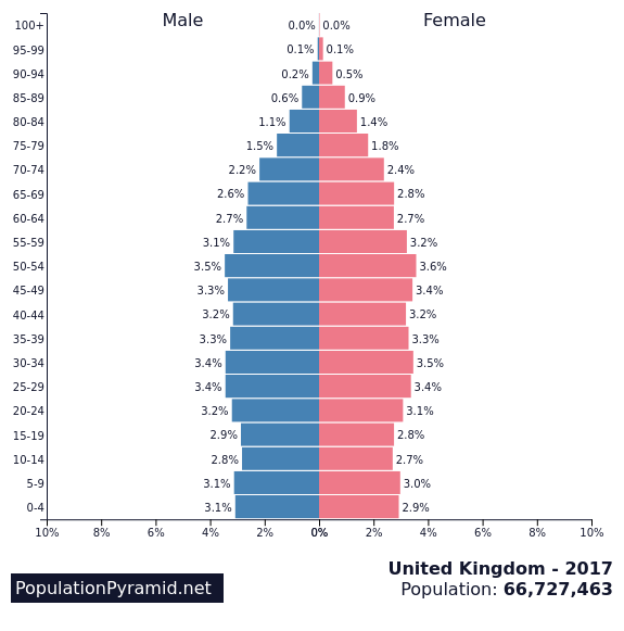 Image result for uk population pyramid